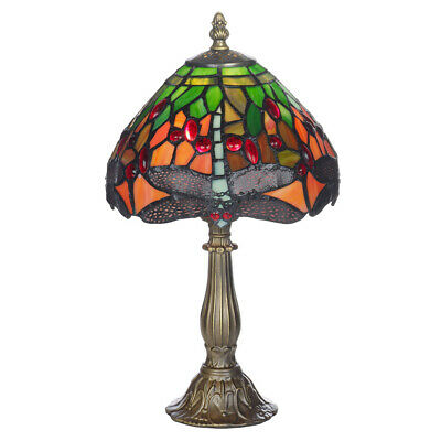 Tiffany Style 8  Mitcham Hand Crafted Dragon Fly Glass Shaded Resin Table Lamp  • 42.99£