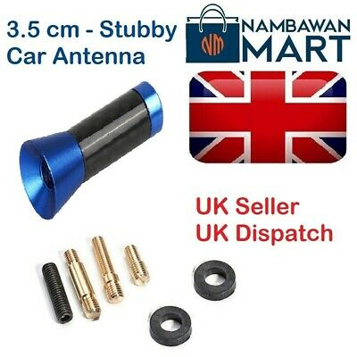 BLUE Carbon Car AERIAL Bee Sting Mast Antenna Mini Radio Stubby 3.5 Cm AUTO1040 • 3.49£