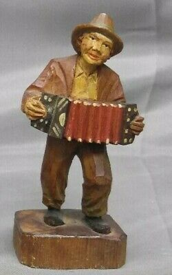 $20 • Buy Viintage Hand Carved Wooden Figure Musician Hobo Accordion Player Wood Carving