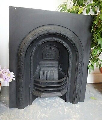 Lovely Vintage Cast Iron Fire Insert Surround Victorian Arch Style • 275£
