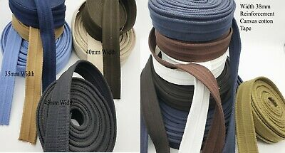 40MM Reinforced Bag Strap100% Cotton Canvas Belt Webbing,Bag Strap Thick Quality • 6.99£