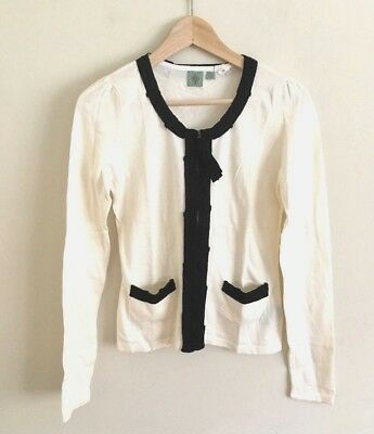 $ CDN14.99 • Buy Anthropologie HWR 100% Cotton Top Small S White Cardigan Zipper Pockets A