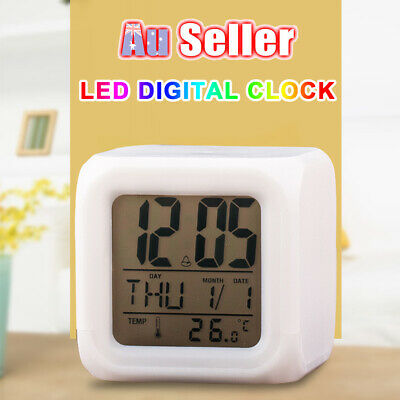 AU12.59 • Buy 7 Color Bedroom Child Glowing Alarm Clock Mute LED Change Digital Night Light