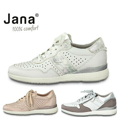 Ladies Lace Up Trainers Jana Leather Wide Fit Shoes Comfort Pumps White Rose  • 49.99£