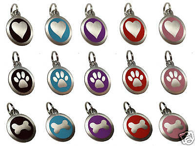 ENGRAVED Dog Pet ID Tags Paw Identity Name Collar Disc Personalised Engraving • 2.75£
