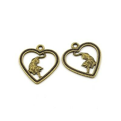Year Of The Tiger Charm/Pendant Tibetan Antique Bronze 24mm  10 Charms Accessory • 2.69£