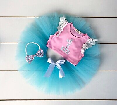 AU35 • Buy SALE! Pink & Blue 3 Piece Cake Smash Outfit - First Birthday Set - Baby Girl