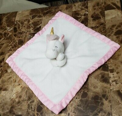 Carters Pink White Unicorn Baby Security Blanket Gold Horn Lovey • 12.37£