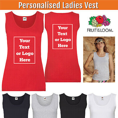 Custom Printed Ladies Fitted Vest Lady Fit Personalised Tank Top Hen Party Photo • 7.50£