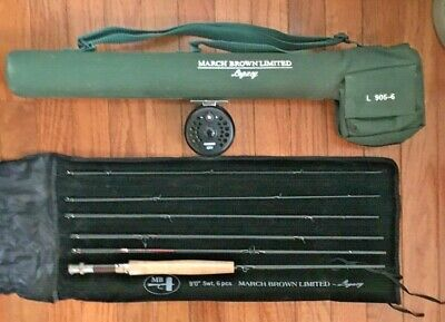 $449.95 • Buy March Brown Fly Rod L 905-6 And Sage 1201 Fly Reel Set With Carrying Case