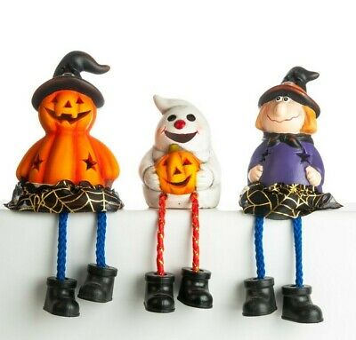 LED Halloween Flashing 3 PC Mantelpiece Hanging Legs Ceramic Trick Or Treat • 12.99£