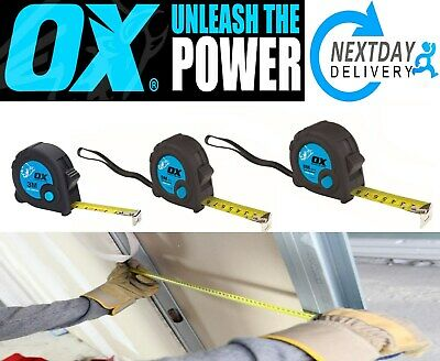 Ox Tools  Tape Measure Trade 3m  5m  8m Metric / Imperial Quick Lock Button  A49 • 6.99£