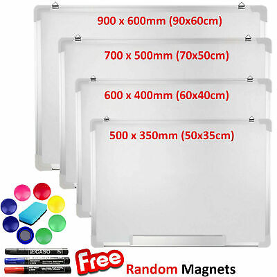Magnetic Whiteboard Large Small White Board Dry Wipe Notice Office School Home • 11.89£