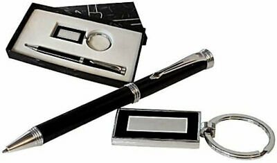 Personalised Black Ballpoint Pen & Keyring Gift Set, Engraved And Giftboxed • 10.99£