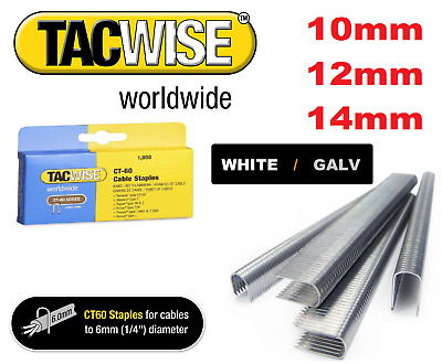 £5.99 • Buy TACWISE   CT60  CABLE TACKER STAPLES  10mm - 14mm WHITE / GALVANISED BOX OF 1000