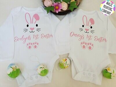 Personalised 1st Easter Bunny Outfit Baby Bodysuit  Fancy Dress Party Vest Top • 7.99£