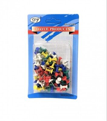 100 Push Pin Assorted Multi Coloured Drawing Pins Notice Office Cork Board W5 • 2.49£