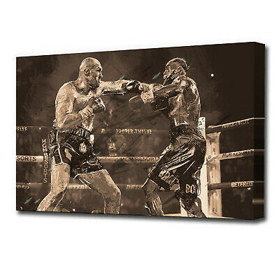 Tyson Fury Wilder Boxing Grunge Sports SINGLE CANVAS WALL ART AA1837 • 24.99£