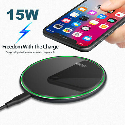 AU13.99 • Buy 15W Fast Qi Wireless Charger For IPhone 11 Pro X XR XS Max Samsung 9 10 Note9 10