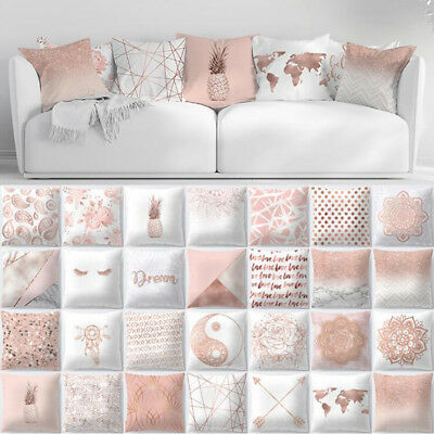 Rose Gold Cushion Covers Pink Theme Geometric Marble Pillow Case Sofa Home Decor • 5.03£
