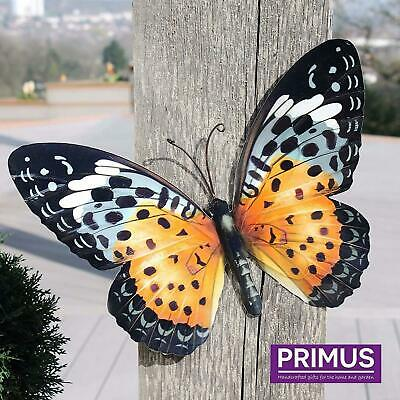 £10.87 • Buy Large Bright Orange Metal Butterfly Garden Ornament Wall Art Decoration GIFT BOX
