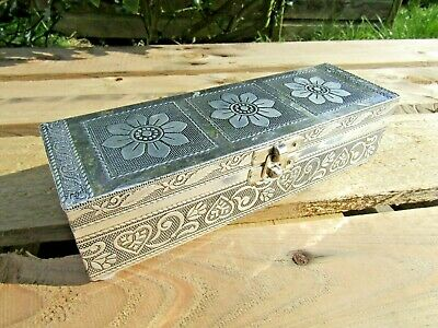 Hand Carved Made Wooden Aluminium Ring Mirror Jewellery Box Chest Case Holder  • 16.99£