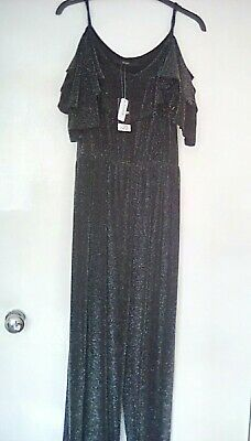Ladies Jumpsuit From George Size 8 Black Silver Glitter New With Tags Lovely • 5£