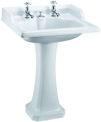 Burlington Classic Square 65cm Basin With Invisible Overflow/Waste & Pedestal • 530£