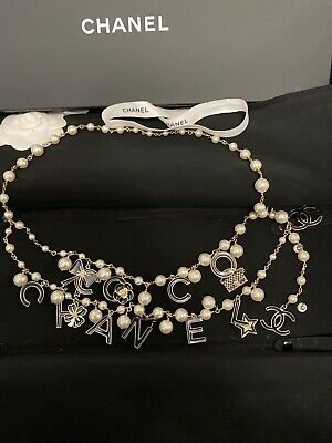 £1557.58 • Buy 100% Authentic CHANEL Gold & Black Charm & White Pearl Belt /Necklace