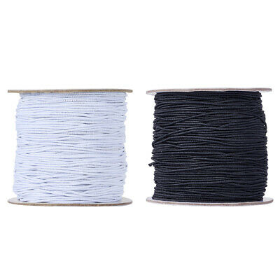 $ CDN11.22 • Buy 1Roll Round Nylon Elastic Cords Rubber Inside Stretchy Thread Rope 1mm 1.5mm 2mm