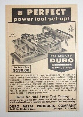£10.97 • Buy 1957 Duro Combination Saw Jointer Advertisement Chicago, Illinois