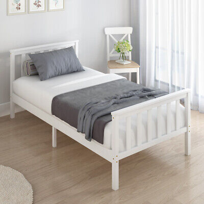 White Wooden Bed Frame Pine 3ft Single Size Solid Pine And With Mattress Option • 49.99£