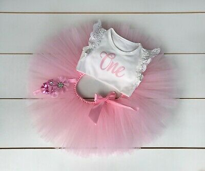 AU45 • Buy Light Pink 3 Piece First Birthday Outfit - Cake Smash Outfit Baby Girl