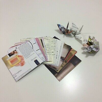 [a] 50 Sheets Origami Folding Paper 7.5x7.5cm Japanese Old Book/English Magazine • 2£