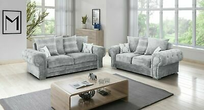 £669 • Buy 3 2 Seater Sofa Set Light Grey Suite Fabric For Room Cheap-Free Delivery-HHI 003