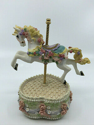 $10.99 • Buy Vibrant Carousel Horse Music Box Heart Shaped Base Rotates Unknown Tune