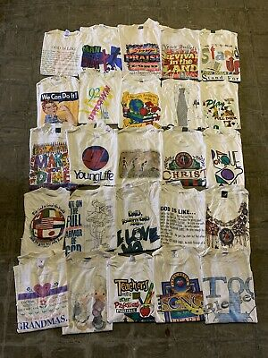 $ CDN271.54 • Buy Vintage Wholesale T Shirt 25 Lot Graphic 90s 00s Bundle Jesus God Comics Random