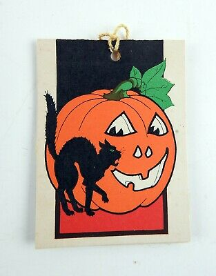$ CDN14.31 • Buy Deco Vintage Halloween Tally Card Black Scaredy Cat Pumpkin Die Cut