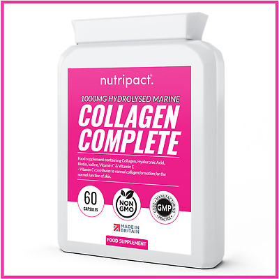 £13.99 • Buy Hydrolysed Marine Collagen 1000mg Hyaluronic Acid, Biotin, Vitamin C, Iodine +