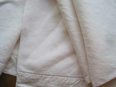 Charming Vintage French Linen Metis Sheet Or Curtain, Tablecloth, Projects • 34£