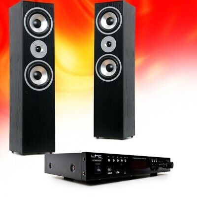 Hifi Home Theater Music System Bluetooth USB MP3 Amplifier Black Floor Boxes • 190.08£