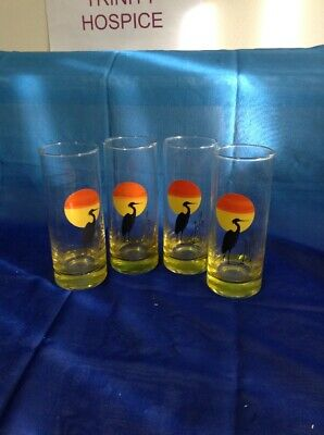 4 Glasses Panache By Dema Glass  Featuring Heron Over Sunset 1960/70's • 9.95£