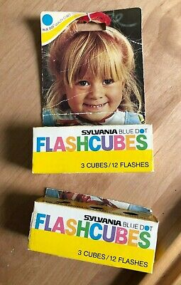 $10 • Buy Vintage SYLVANIA BLUE DOT FLASHCUBES 2 - Packages Of 3 Cubes/12 Flashes