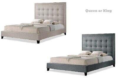 $ CDN875.34 • Buy Light Beige Or Gray Linen King Or Queen Bed Frame Button-Tufted Silver Nail Head