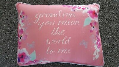 £12 • Buy  Grandma You Mean The World To Me  Complete Pink Floral Cushion Pillow 30x40 Cm