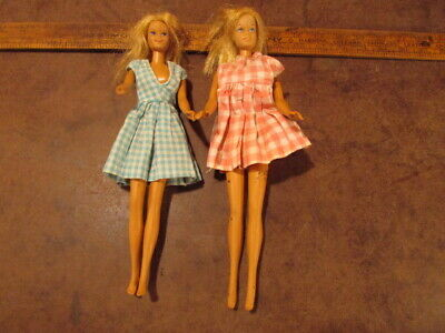 $ CDN27.05 • Buy 2 Vintage Barbie Doll Hair With Dress Outfit    Blue Pink Plaid