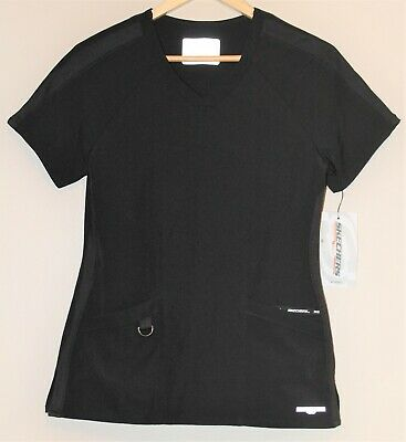 $19.99 • Buy NWT Skechers Barco Women's Short Sleeve Performance V Neck Scrub Top Black SMALL