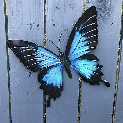 Large Bright Blue Metal Butterfly Garden Ornament Wall Art Decoration GIFT BOX • 9.90£