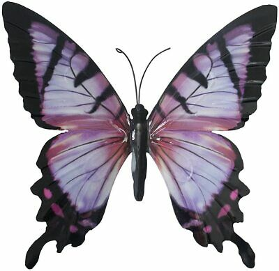 Large Purple Metal Butterfly Garden Ornament Wall Art Decoration GIFT BOX • 9.50£