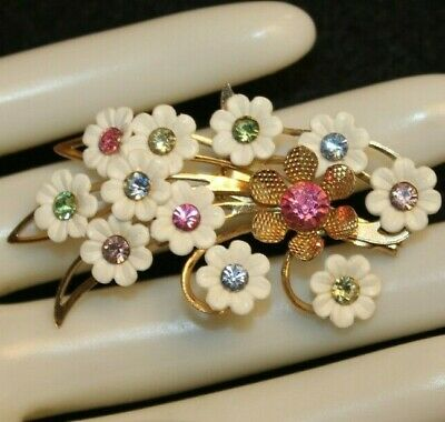 $38.09 • Buy Rare And Delicate Emmons Signed Vintage Flower Pin With Multi Stones-exc..